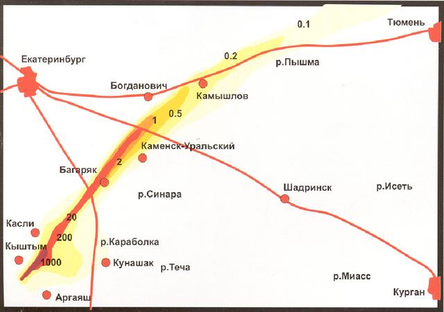 Восточно-Уральский радиоактивный след (т.н. ВУРС), который образовался в результате аварии на комбинате Маяк